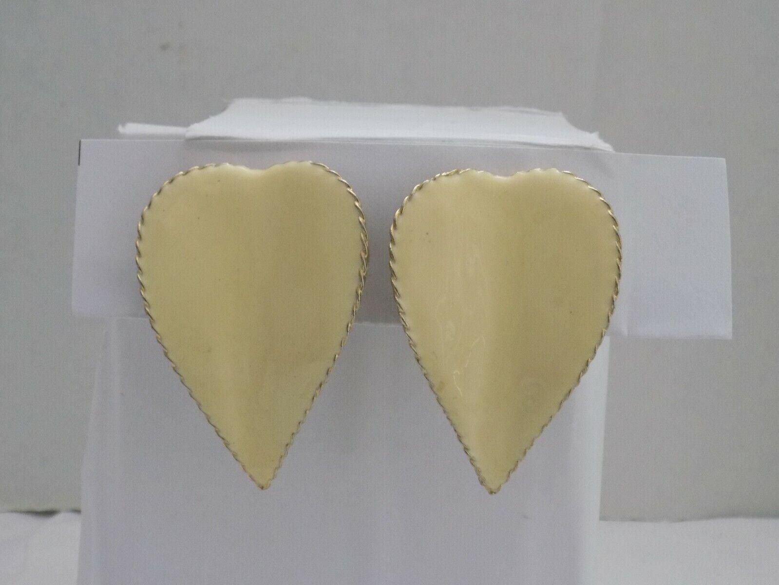 Vintage Gold Tone Ivory Color Enamel Large Statement 2 1/4 Clip Earrings 2207  - $9.90