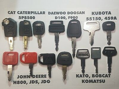 14 Equipment Keys Cat Komatsu Bobcat Hitachi Kubota John Deere Case.