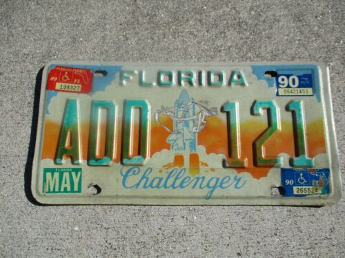 Florida 1990 Challenger license plate  #  ADD  121