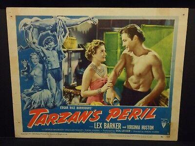 Tarzan's Peril Lex Barker 1951 Lobby Card #1 VG Jane Virginia Huston Tarzan