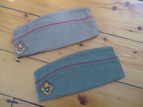2 vintage 1960s - 70s  Boy Scouts Of America BSA Garrison HAT CAP ~ Size Medium