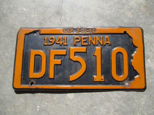 Pennsylvania 1941 license plate #  DF 510