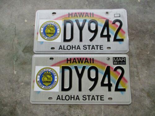 Hawaii 2016 Honolulu PRA license plate  pair #  DY 942
