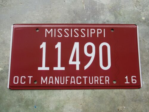 Mississippi 2016 Manufacturer license plate  #   11490
