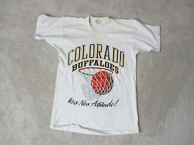 VINTAGE Colorado Buffaloes Shirt Adult Small White College Basketball Mens 80s *