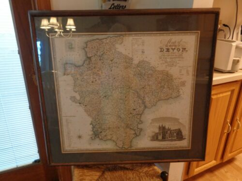 ANTIQUE MAP OF THE COUNTY OF DEVON BY C.J. GREENWOOD,LONDON,ENGLAND FRAMED 1820