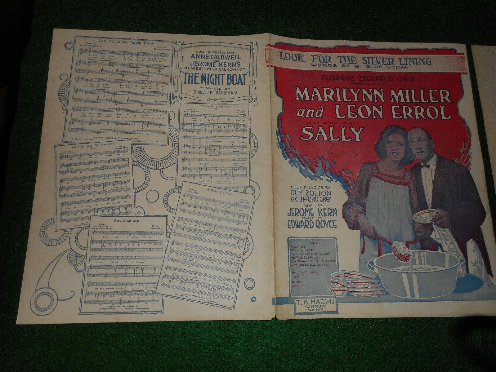 Look For The Silver Lining 1920 Marilynn Miller Leon Miller Broadway Sheet Music - $5.99