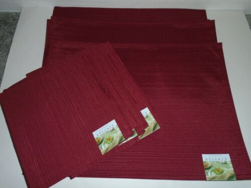 Accents 4 Fabric Placemats & 6 Napkins Brick Color New With Tags