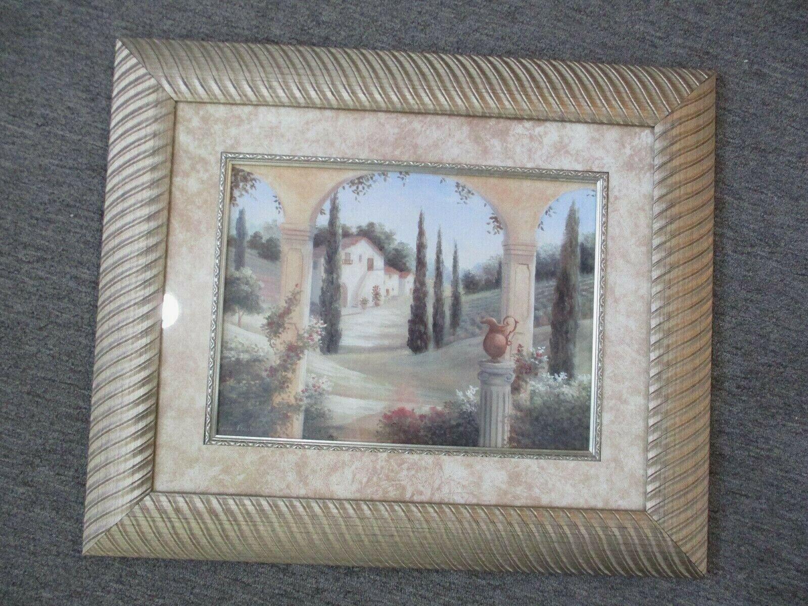 """Vivian Flasch Terrace View Print Beautifully Framed 25"""" X 21"""""""