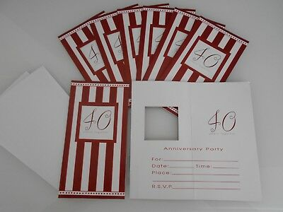40th Wedding Anniversary Invitations - 8 X Ruby Wedding Anniversary Invitations 40th Ruby Invites