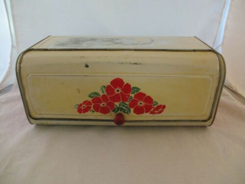 Vintage Tin Bread Box Floral Motif (95)