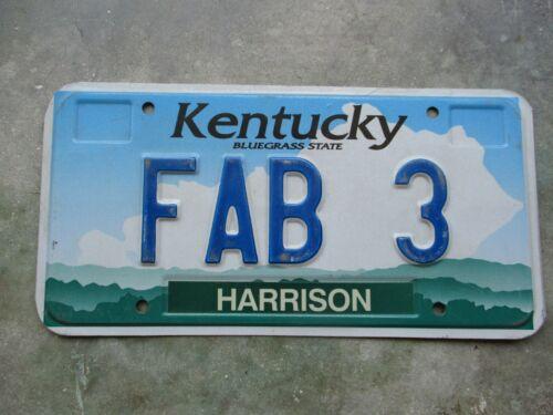 Kentucky vanity license plate #    FAB  3