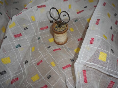Antique Vtg. French Woven Geometric Fil Coupe Light Sheer Batiste Cotton Fabric