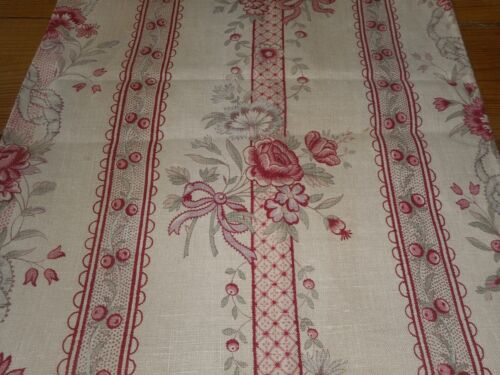 Antique French Floral Garland Pure Linen Fabric #2 ~ Rose Lavender