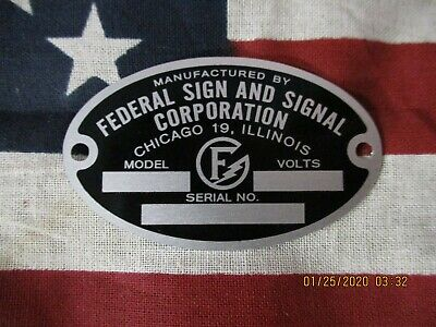 Federal Sign And Signal Replacement Badge Models C5 C6 66 67 76 77 78 Early Q