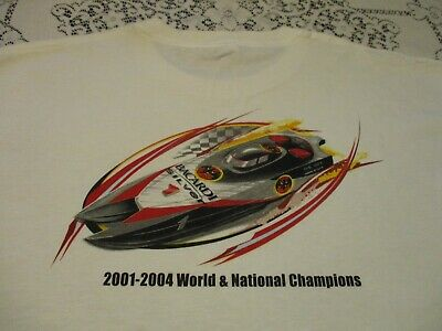BACARDI SILVER OFFSHORE BOAT RACING 2001-04 WORLD & NATIONAL CHAMPS T-SHIRT- XL  Offshore Boat T-shirt