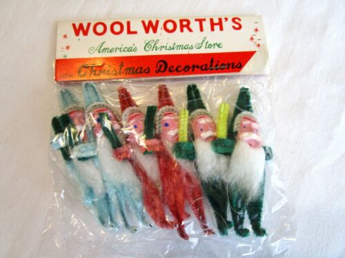VINTAGE CHRISTMAS SANTA FACE CLAY ORNAMENT STEM PICK CHENILLE SET 6 CORSAGE NIP