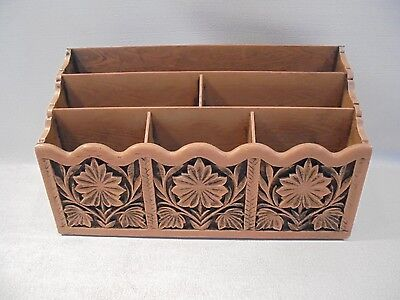 Vintage Lerner Faux Wood Mail Organizer Desk Top Sorter 12 By 7 Very Nice