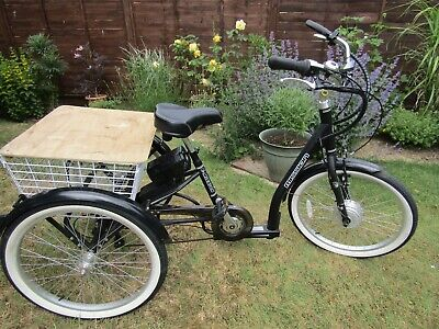 Electric Tricycle   E Mission adult battery tricycle 6 speed Shimano gears