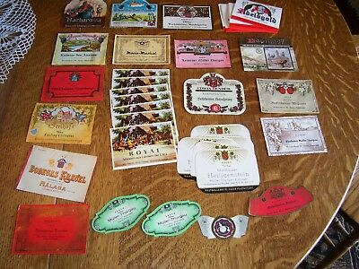 Vintage paper liquor,wine,and beer bottle labels 40 plus