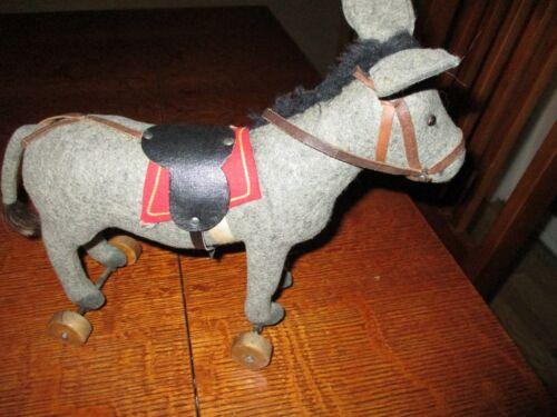 """10 1/2"""" Long Antique Felt Covered Steiff Donkey On Wheels"""