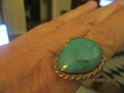 VINTAGE BIG TURQUOISE STAMPED+BRAID EDGE SOUTHWEST SILVER RING Braid Turquoise Ring