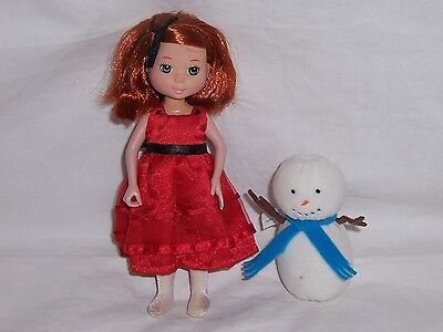 "1 Learning Curve Madeline Doll Poseable 7"" in Red Dress and 1 Eden Plush Snowman"