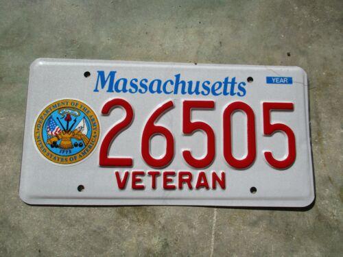Massachusetts  Veteran Army license plate   #  26505