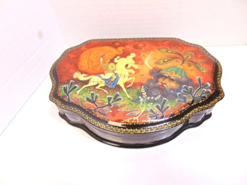 Vintage Russian Black Lacquer Box Artist Signed Fairytale