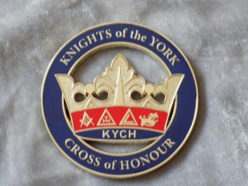 "Masonic 3"" Car Emblem York Rites KYCH Crown Knights Crown Freemasonry Metal NEW!"