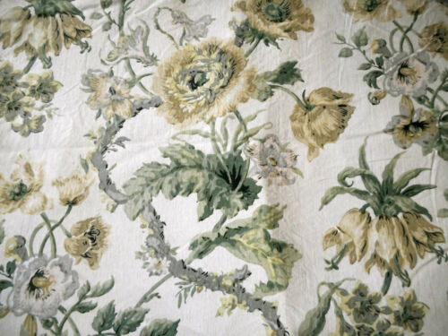 Antique French Botanical Floral Cotton Fabric ~ Soft Buttery Yellow Gray Sage