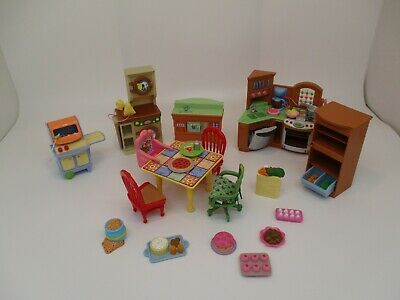 Lot Fisher Price Loving Family KITCHEN Sounds TABLE FOODS Doll House Furniture