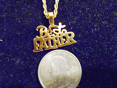 bling gold plated SAYINGS BEST FATHER PENDANT charm hip hop necklace DAD