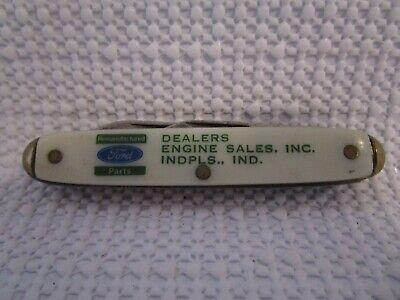 FORD Dealers Indianapolis, IND Advertising 2 Blade Folding Pocket Knife Vintage