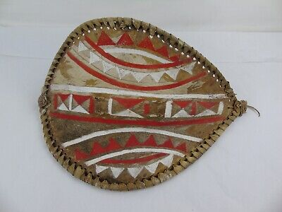 African Tribal Baby Shield Vintage Warrior Wood Carved and Animal Leather