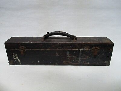 "antique primitive wood tool box hand crafted americana rustic storage 20"" L."