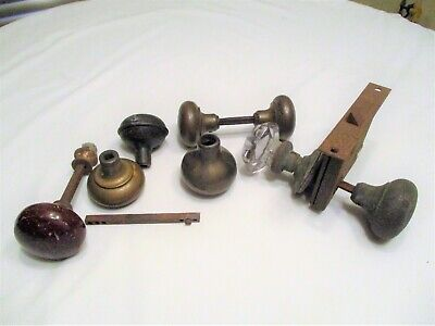 Antique Door Knobs Lot 1 Porcelain 5 Brass 1 Glass 1 Steel 1 Door Lock Mechanism