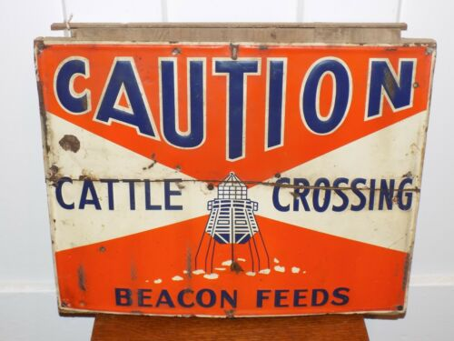 Vintage Beacon Feeds Caution Cattle Crossing Embossed Metal Sign