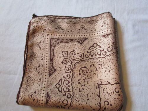 "Vintage Brown Paisley Silk Pocket Square 16 "" Square"