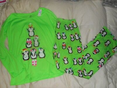 Girls Justice Holiday Christmas Green Penguin Long Sleeved Pajama Size 8 NWT