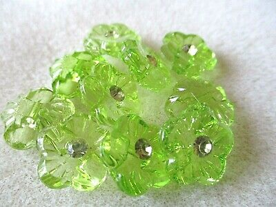 10X15MM APPLE GREEN ACRYLIC & CRYSTAL BLOSSOM FLOWER  BACK HOLE SEW ON BUTTONS