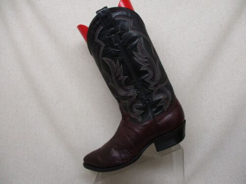 JUSTIN, Black, Leather, Burgundy, Lizard, Skin, Cowboy, Western, Boots, Mens, Size, 9.5, D