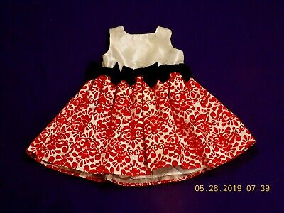 Damask Baby Girl Clothes (Mud PieTaffeta Dress Red Damask Tulle Bows Baby Girls Size 6-9 month)