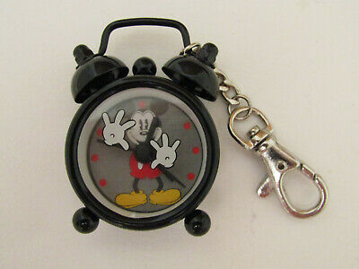 DISNEY MICKEY MOUSE BLACK METAL MINI ALARM CLOCK WATCH CLIP WITH 2 BELLS MK4030 Metal Alarm Clock Bells