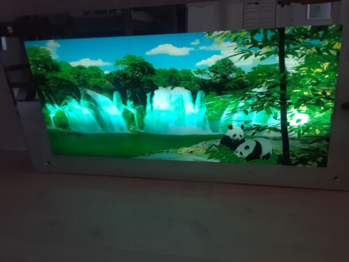 VINTAGE LIGHT UP  PANDAS & WATERFALL MOTION MIRROR FRAMED WALL HANGING