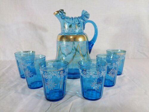 EAPG Victorian Blue 7 pc. water/Lemonade Set, Hand painted and trimmed in Gold