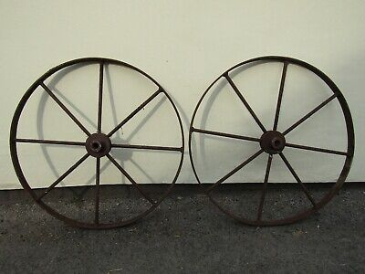 Two+ huge reclamation carriage wheels garden outdoor prop salvaged for upcycling