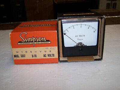 Simpson Wide-vue Analog Panel Meter Model 1357 0-10 Ac Volts