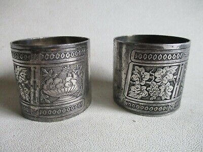 VGC BEAUTIFUL EMBOSSED DESIGN COLLECTIBLE Antique Silver Plated Napkin Ring