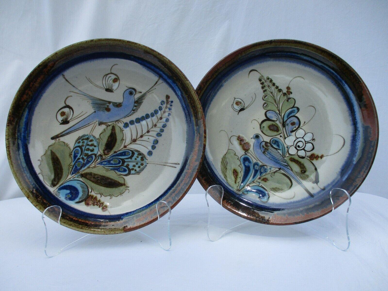 "Set of 2 Ken Edwards Blue Bird Pottery Dishes Plates Mexico Scorpion Mark 10"""